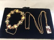 Vintage Enamel & Gold Plated Pendant Necklace Matched With Bracelet & Earrings