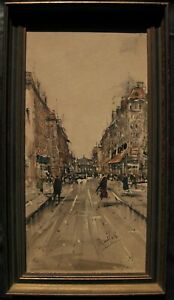 LISTED Boufferie Expressionist Paris Street View at Dusk Old Oil Painting NO RES