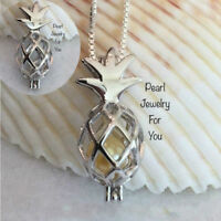 Love Pineapple Freshwater Pearl Bead Cage Locket Pendant Necklace Charm Necklace