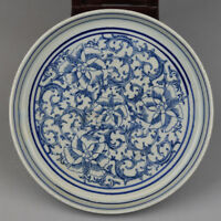 China antique Porcelain Ming wanli blue white hand painting Lotus flower plate