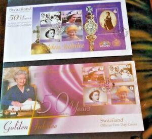 Swaziland 2002 Queen's Golden Jubilee Set and Miniature Sheet; Mint & FDc's