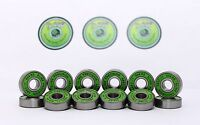 Skateboard Bearings Pack of 16 Green Slime ABEC11 608RS Skateboad Bearings
