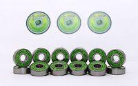 Skateboard Bearings Pack of 16 Green Slime ABEC11 608RS Skateboad Bearings