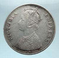 1887 INDIA ALWAR STATE Error Silver Rupee Coin under UK Queen VICTORIA i78403