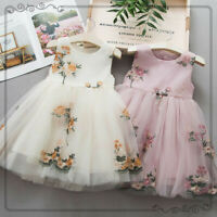 Toddler Baby Kids Girls Flowers Tulle Dress Princess Wedding Party Dress Clothes