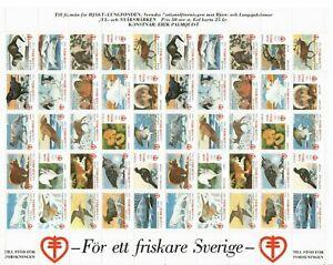 S26926) Sweden 1992/93 MNH Tuberculosis Christmas Sheet God Helg Cinderella