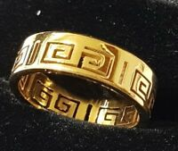 9CT YELLOW GOLD Gf WEDDING BAND UNISEX RING 8 MM RING SIZE 7-11