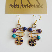 Natural Stone Amethyst Lapis Citrine Turquoise Crystal Brass Wire Wrap Earrings