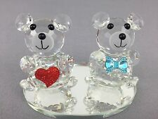 8cm Crystal Kri Bear Couple Figurine Wedding Gift Home Decor Swarovski LOOK