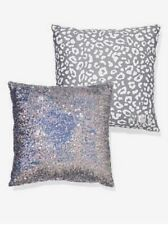 Victoria's Secret PINK Bling Throw Pillow Grey/White/Silver Sequin Leopard Print