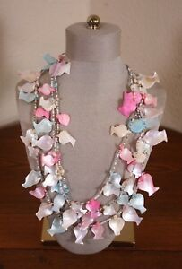 Mother of Pearl Shell Fish & Glass Multi Strand Vtg Necklace Summer Beach Tiki