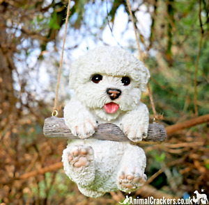 Hanging Bichon Frise Shih Tzu type dog garden ornament decoration Dog lover gift