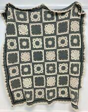 """Crochet Blanket Throw Grey Cream 38x45"""" D21"""