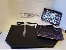 Victoria's Secret XL Black Faux Leather Tote & 2 Flip Sequin Carry-all Bags NWT