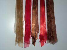 Xmas Decoration Ribbon 1/2 Satin Red & Dark Brown Organdy 1 Red, Dark & Lt Brown