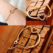 Chic Cute Love Heart Rhinestones Hand Chain Link Gold Bracelet Bangle Fashion