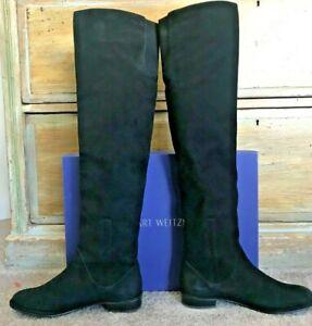 STUART WEITZMAN  FABULOUS KNEE HIGH BLACK SUEDE BOOTS   s 8