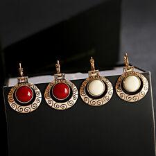Women's Red White Gemstone Jhumka Engrave Bohemia Handcrafted Drop Earrings
