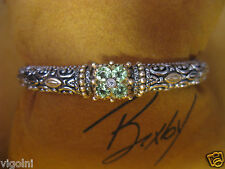 BRACELET BARBARA BIXBY 18K SS CUFF BANGLE PERIDOT FLOWER DIAMOND DESIGNER GIFT