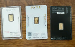 1 Gram .9999 Fine Gold Bars Perth Mint Credit Suisse Pamp Lady Fortuna In Assay