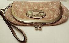 Guess Mini Tamara Pink Clutch Purse Bag Brand Logo Clasp Wristlet Silver Trim