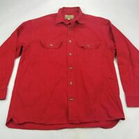 Cabelas Mens Chamois Button Front Shirt Red Long Sleeve Flap Pockets Cotton L