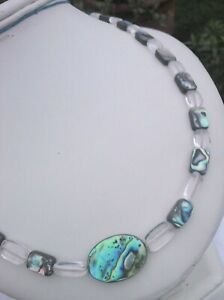 """ROCK CRYSTAL AND ABALONE 18"""" NECKLACE UNISEX MOTHER VALENTINE PARTY VACATION"""