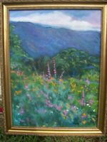 framed original oil painting on canvas signed by artist 18x24 gold frame 21x27
