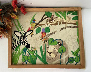 """Crewel Embroidery Safari Animals Picture Unfinished Yarn Artwork 16""""x20"""" Vintage"""