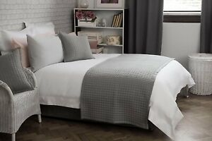 Belledorm Crompton Cotton Rich Bedspread / Bed Runner or Cushion in Grey