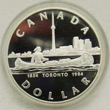 Canada 1984 Large Silver Proof $1-Toronto/Indian on  Canoe