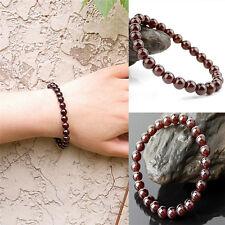 Handmade Pure Natural Garnet Bracelet Jewelry Gemstone Round Beads Bracelet QP