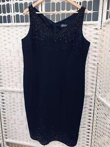 DEBUT Black Evening /Party Dress  Glass Bead  Detail Size16  Lined DEBENHAMS