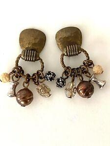Vintage Marjorie Baer MB SF  Mix Metal Dangle Clip on Earrings