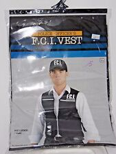 Size Up to 42 In Men's Black Police FCI Vest Costume Cosplay Halloween Costume
