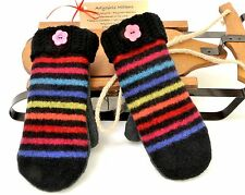 Sweater Mittens Upcycled / Recycled Felted Wool Fleece Lined Handmade USA Stripe