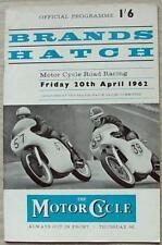 Brands Hatch 20 APR 1962 Motore Ciclo ROAD RACING PROGRAMMA UFFICIALE