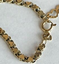 Ankle Bracelet Anklet Real 10K made in ITALY Yellow Gold Hearts 10 in