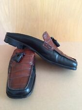 Vintage~Enrico Gori~9~Italian Leather Shoes~Black & Brown~Loafer~Slides~Tassle