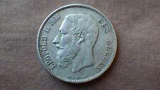 1x PIECE Argent Silver 5 FRANCS BELGES BELGIQUE Leopold II  1871 Bel état (2)