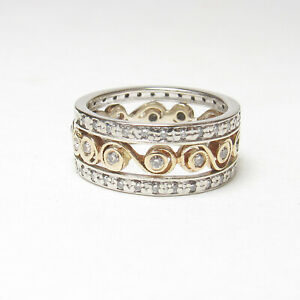 Estate 14K White And Yellow Gold Brilliant Cut Diamond Eternity Ring 0.50 Cts