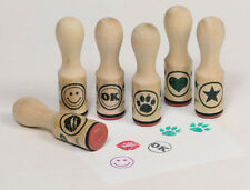 STEMPELSET 6 Stempel Symbole Holz +GRATIS Stempelkissen