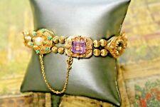 """Vintage Retro Multi-Gem 14K Yellow Gold Slide Charm Bracelet 46 Grams 8"""""""