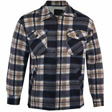 Mens Fur Fleece Lined Lumber Jack Shirt Padded Sherpa Hoodie Thick Winter Tops Ls2 - Colour 15 Shirt Style 2 Large