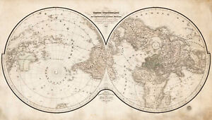 1838 Flat Earth World Map Russian with St. Petersburg at Its Center Wall Poster