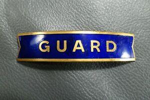 "British Railways (Eastern) blue enamel fishtail cap badge ""GUARD"" Gaunt London"