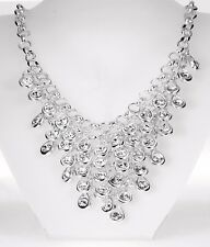 Silver Crystal Drop Layer Necklace