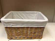Woven Wicker Storage Toy Laundry Stained Willow Basket White Liner 15X11X9
