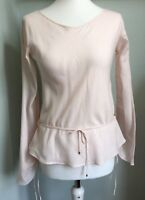 HUGO BOSS Blush Pink Cotton Top Size 10 Drawstring Ruched Sleeves Waist Tie