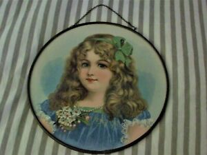 Antique Victorian Flue Cover Stove Pipe Cover Young Girl in Blue Round Picture